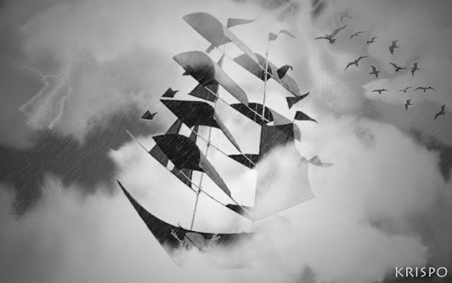 barco pirata fantasma surcando el cielo entre nubes y tormenta