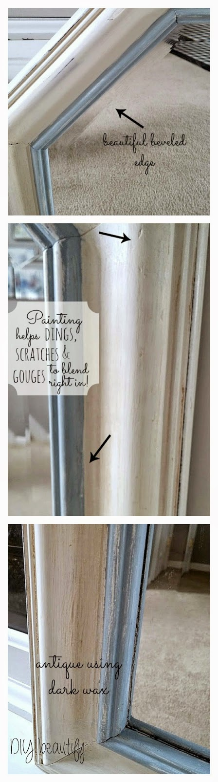 How to Antique a Thrift Store Mirror www.diybeautify.com