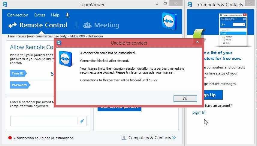 Teamviewer Session Timeout