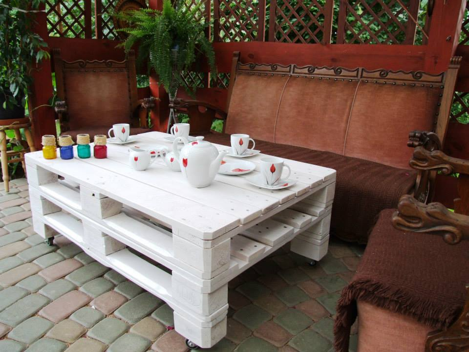 Create A Productive Bunk Of Pallets And Employ The Achieved Structure As Patio Table Do Use Little Paint For Modern Glimpse Or Glaze