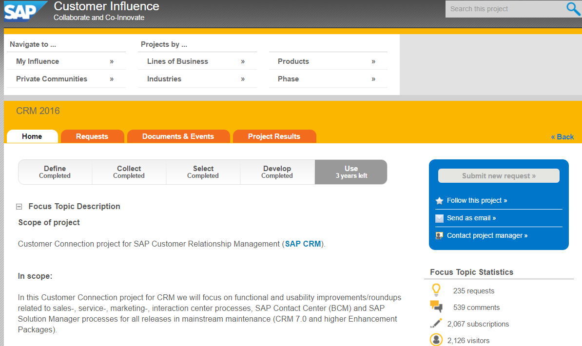 Sap Customer Experience Connection Update Request The Full Overview Downloadable As Excel File Can Be Reached From Projects Results Tab With Links To Details And Note Describing
