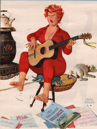 hilda la Gordita pin up  toca la guitarra española