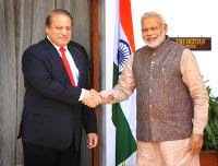Prime Minister Narendra Modi shakes hand with his Pakistani counterpart Nawaz Sharif (L) during their bilateral meeting at Hyderabad House in New Delhi. (Getty Images)