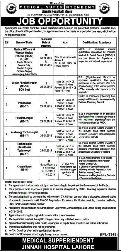 87 Govt Jobs in Jinnah Hospital Lahore 2019