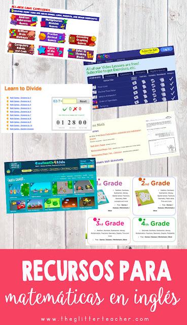 recursos, juegos y descargables para aprender cómo realizar sumas, restas, multiplicaciones y divisiones con números naturales en inglés