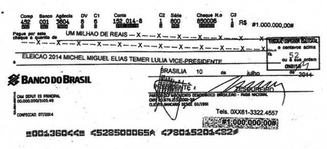 Cheque de R$1milhão foi para a conta de Temer