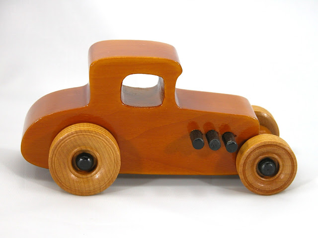 Right Side - Wooden Toy Car - Hot Rod Freaky Ford - 27 T Coupe - Pine - Amber Shellac - Black Hubs