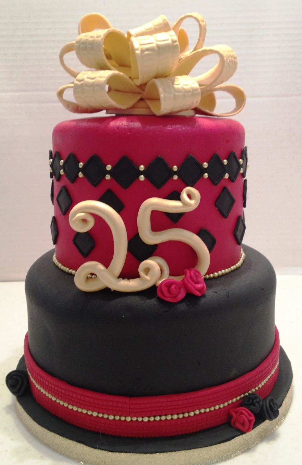 MaryMel Cakes Red Black Gold 25th Birthday