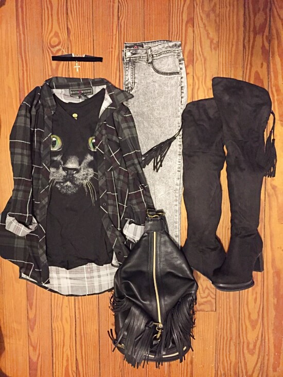 olive plaid and cat shirt outfit of the day