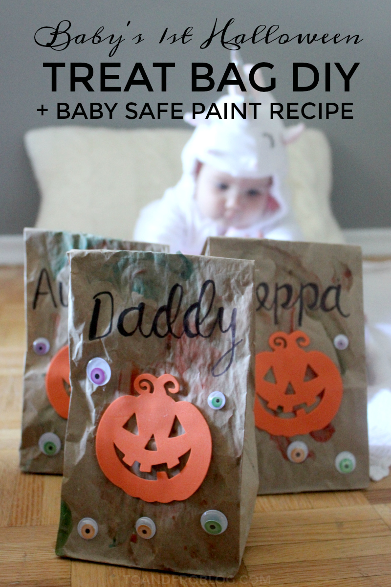 Baby's First Halloween Treat Bag DIY & Baby Safe Paint Recipe