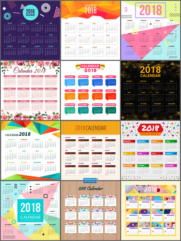 do-hoa-12-mau-lich-nam-moi-2018-calendar-vector-8125