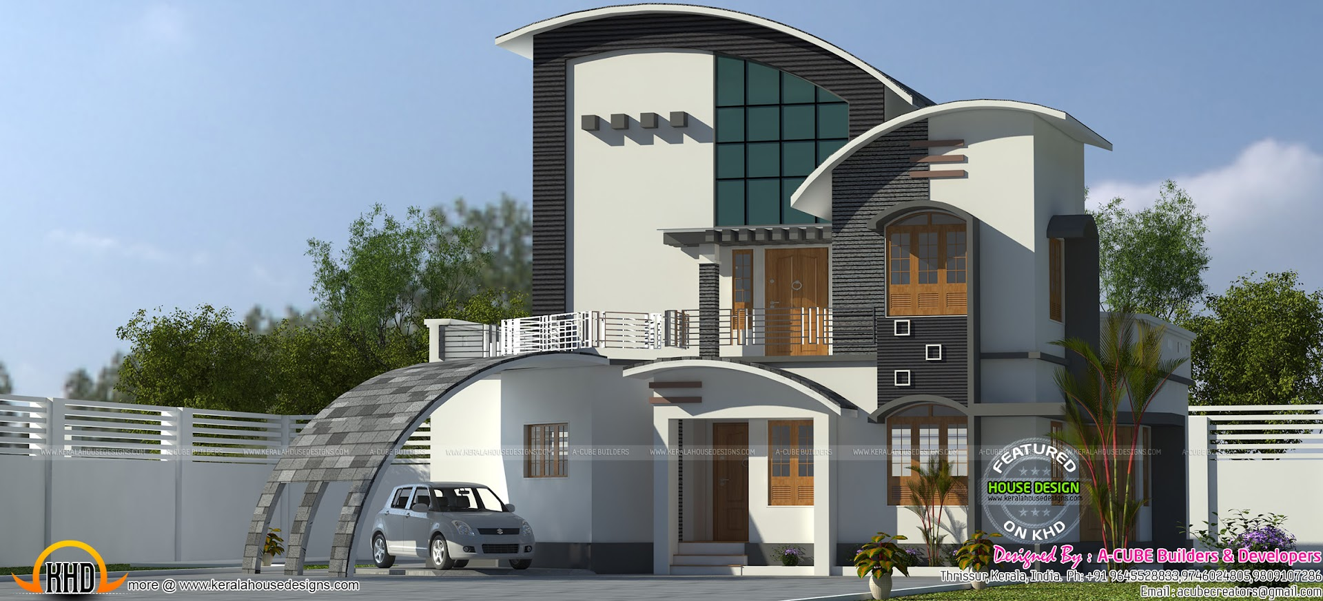 2027 Sq Ft Curved Roof Mix Modern Home Kerala Home