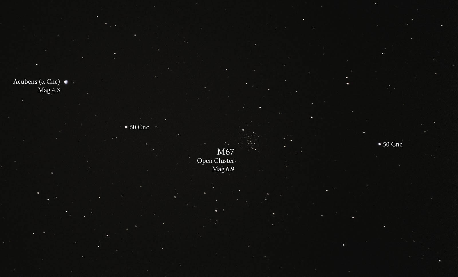 open cluster M67 with labels taken with canon t5i