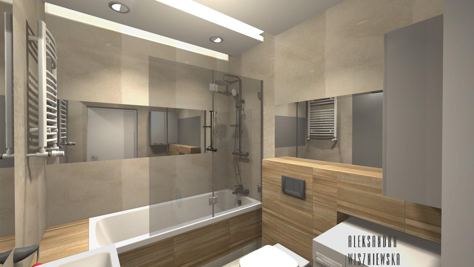 Projekty łazienek, wizualizacje: Tubądzin Sable + Exotic - Z WANNĄ
