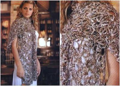 Chal tejido con cinta de seda