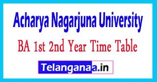 ANU Degree BA 1st 2nd Year Time Table 2017 Acharya Nagarjuna University