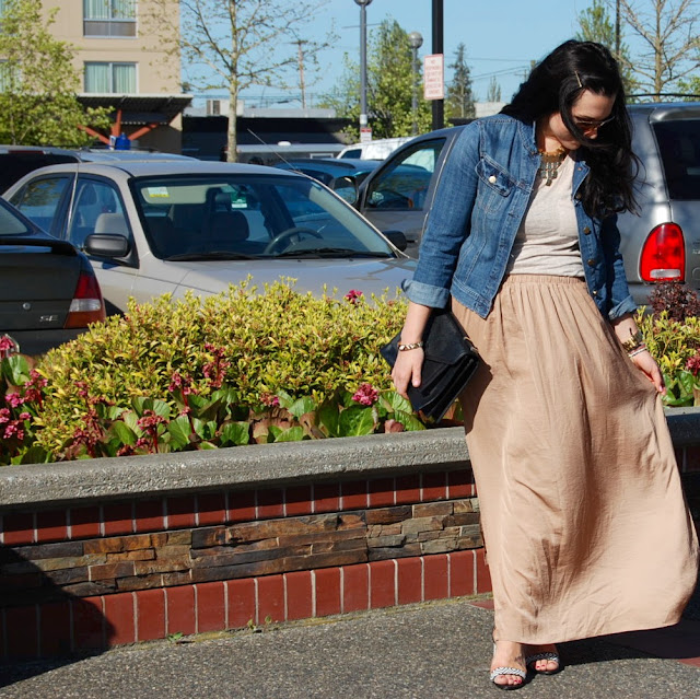Zara maxi skirt, J.Crew denim jacket, linen tank top, aviator sunglasses and Loeffler Randall Rider bag