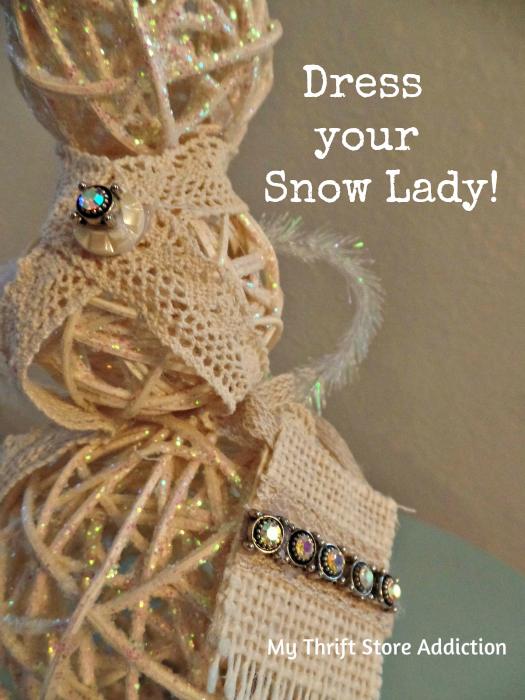 Sassy Snow Lady / accessorize buttons ribbon / mythriftstoreaddiction.blogspot.com