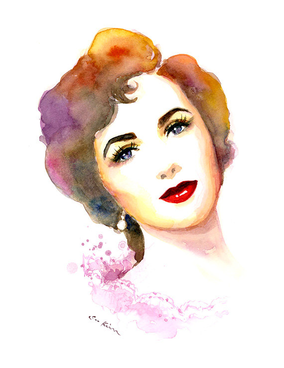 07-Elizabeth-Taylor-Soo-Kim-Celebrity-Watercolor-Portraits-www-designstack-co