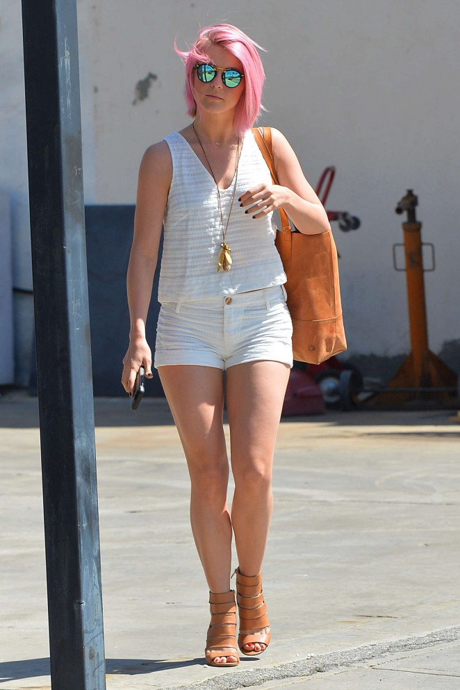 Julianne Hough flaunts pink hair and long legs in LA