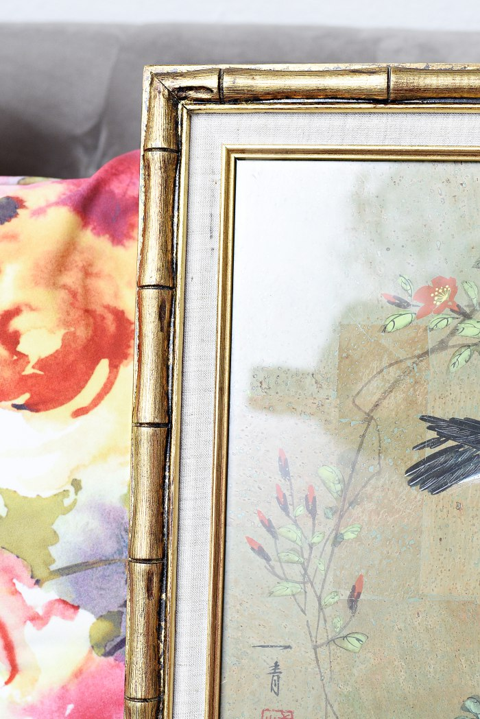Asian bird painting in gold bamboo frame + Tips for shopping for home decor at antique and thrift stores. | via monicawantsit.com