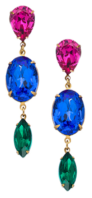 Ayana Designs Three Crystal Drop Earrings: $70