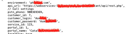 Evidencias de Hardcode Claves en Texto-Plano (acceso API y uso de servicio web) texto