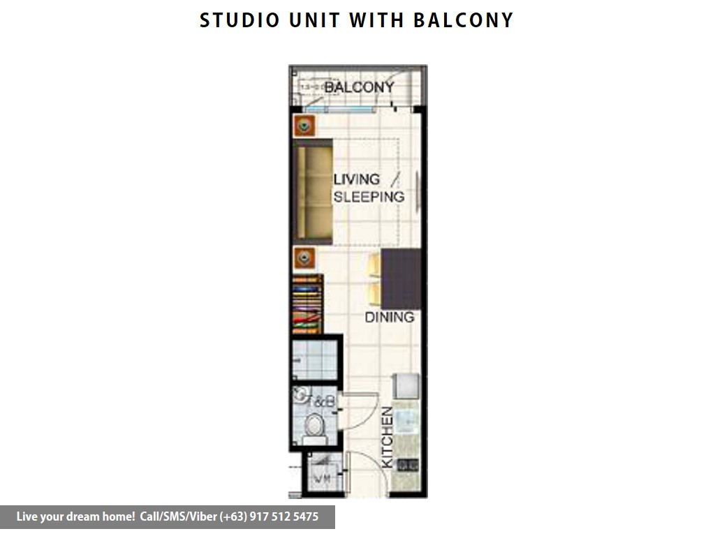 Floor Plan of SMDC Air Residences - Studio With Balcony | Condominium for Sale Makati City
