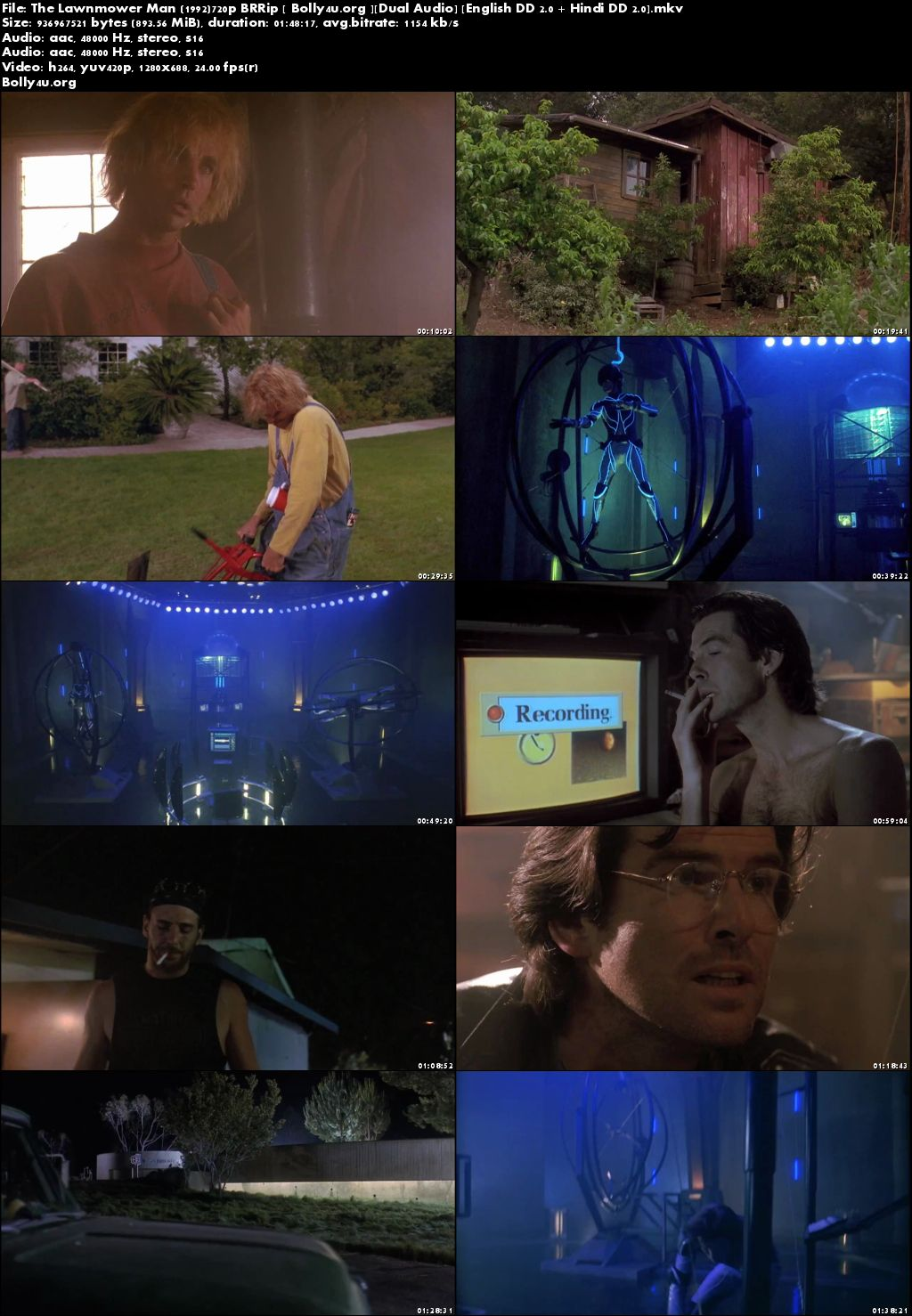 The Lawnmower Man 1992 BluRay 900Mb Hindi Dual Audio 720p Download