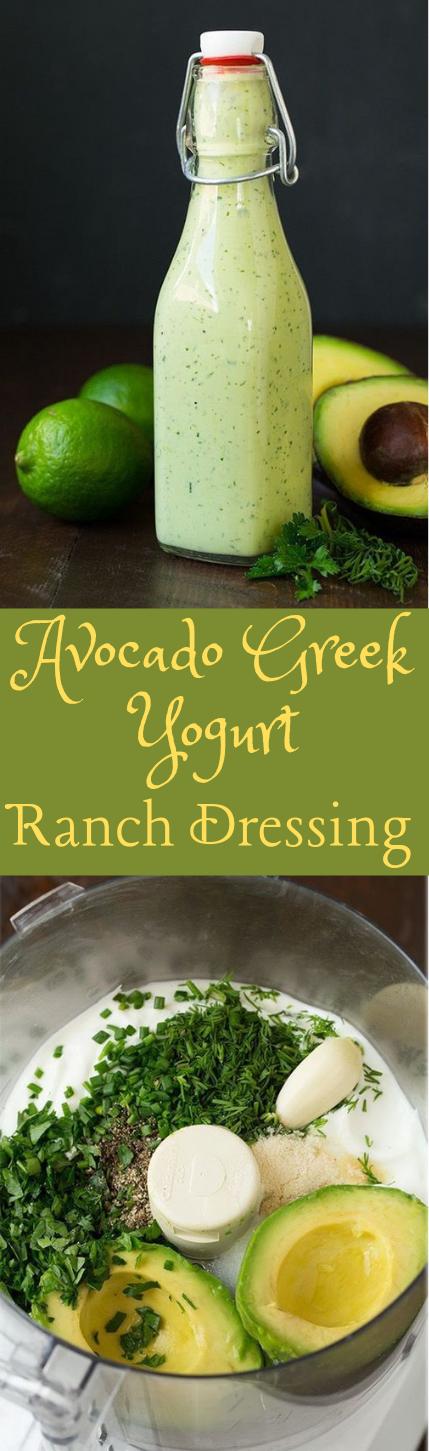 Avocado Greek Yogurt Ranch Dressing #healthy #avocado