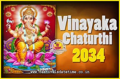 2034 Vinayaka Chaturthi Vrat Yearly Dates, 2034 Vinayaka Chaturthi Calendar