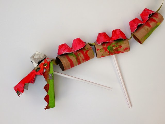Chinese new year dragon puppet made from recycled materials