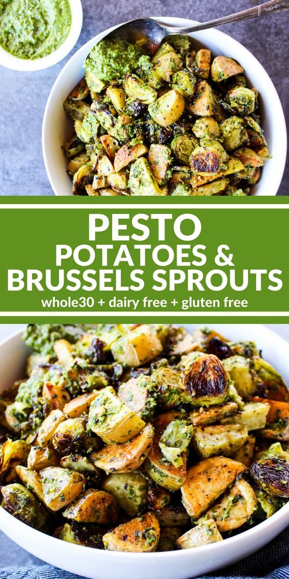 Best Pesto Potatoes & Brussels Sprouts Recipe
