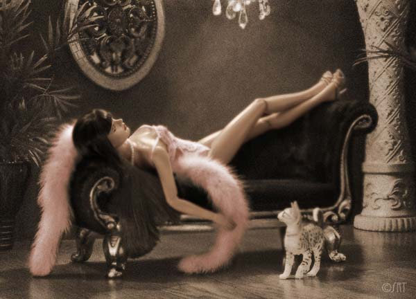 Divan, sofá, asiento, gato, chica, mujer, erótico, cómodo, sorpresa, descanzo
