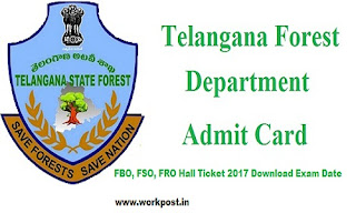 TSPSC Forest Department Admit Card 2017