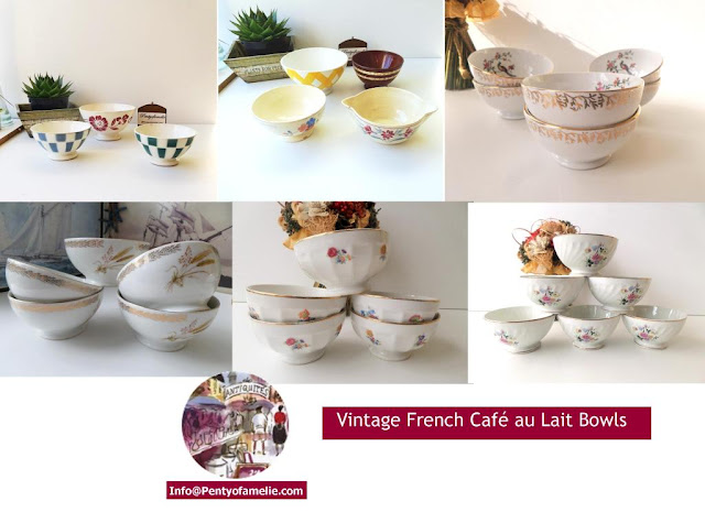 wide collection of Antique vintage Colorful Latte bowls Set made of Porcelain, Faience in various sizes signed by french renown potteries