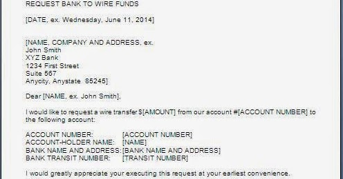 Request Letter For Wire Transfer