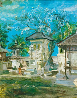"""Pura Kembaran, Sanur"" by S.Sudjojono, Medium: oil on board, Size: 102cm x 81cm, Year: 1972"