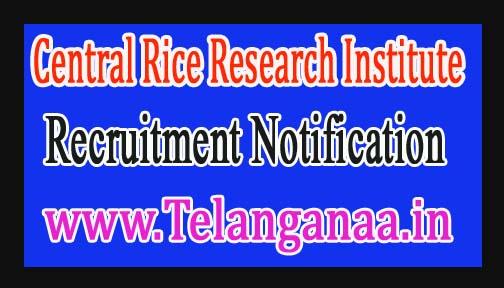 Central Rice Research InstituteCRRI Cuttack Recruitment Notification 2017