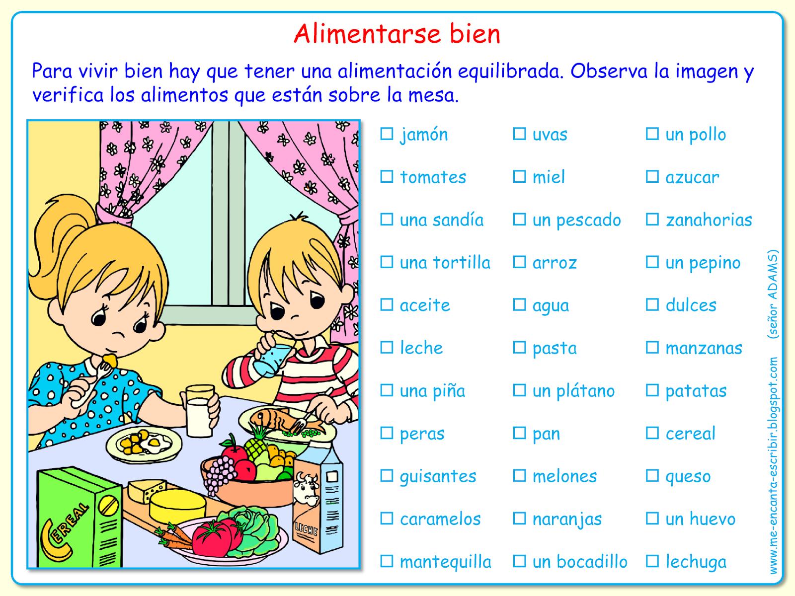 Me Encanta Escribir En Espanol Comer Bien Los Alimentos