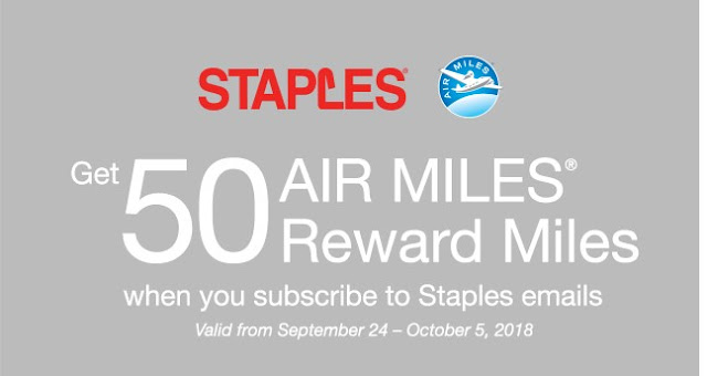 50 FREE Air Miles For Email Sign Up With Staples