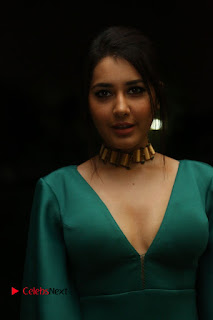 Actress Raashi Khanna Pictures in Green Long Dress at Hyper Trailer Launch  0012