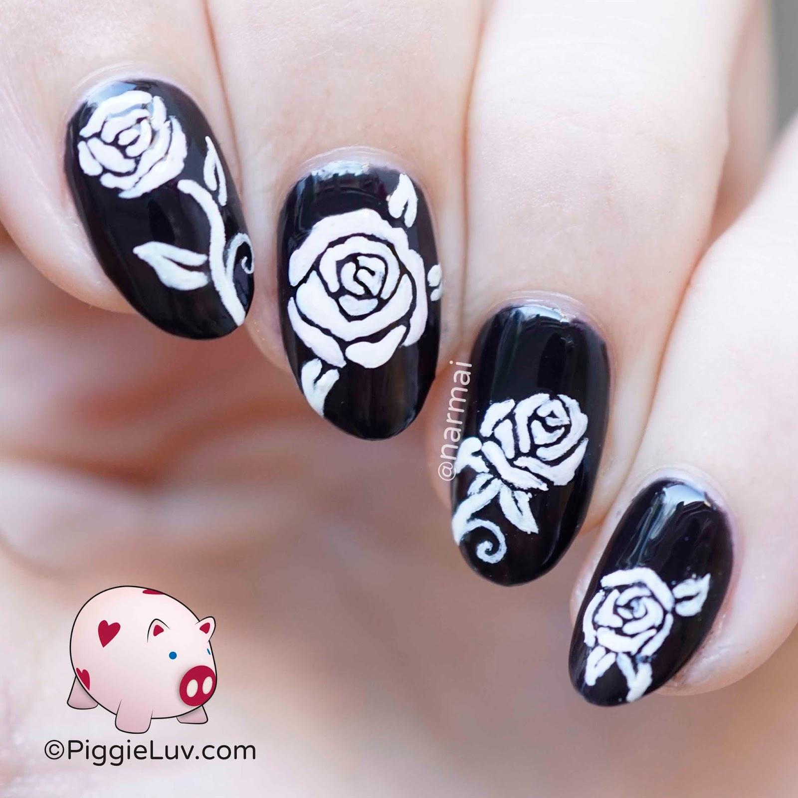 PiggieLuv: Glow roses nail art