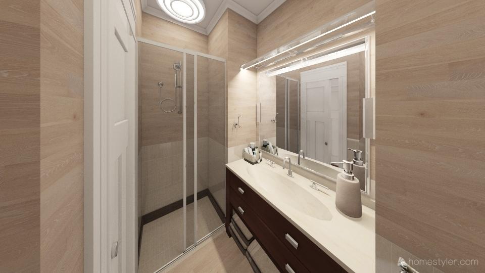 Bagno con specchio incassato con la porta che entra nel bagno con