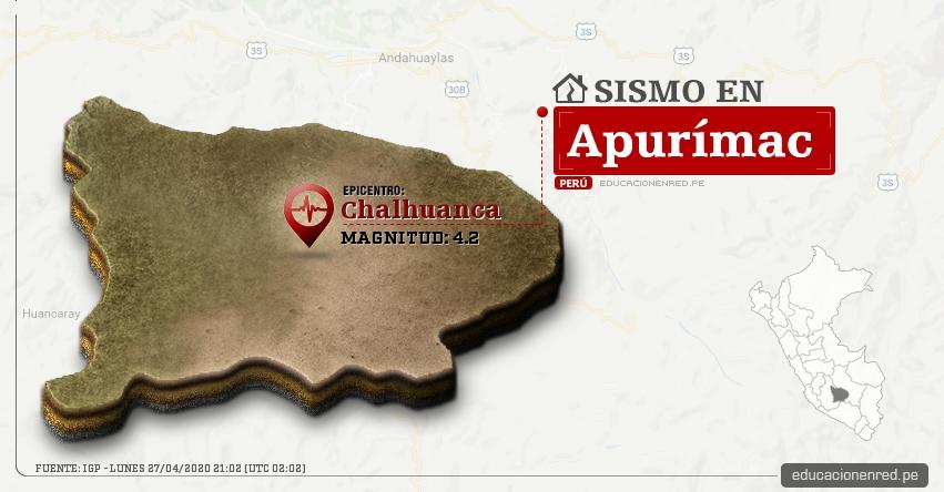 Temblor en Apurímac de Magnitud 4.2 (Hoy Lunes 27 Abril 2020) Sismo - Epicentro - Chalhuanca - Aymaraes - IGP - www.igp.gob.pe