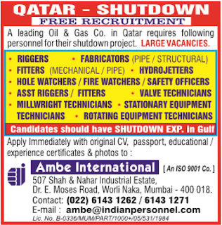oil and gas shutdown jobs in qatar