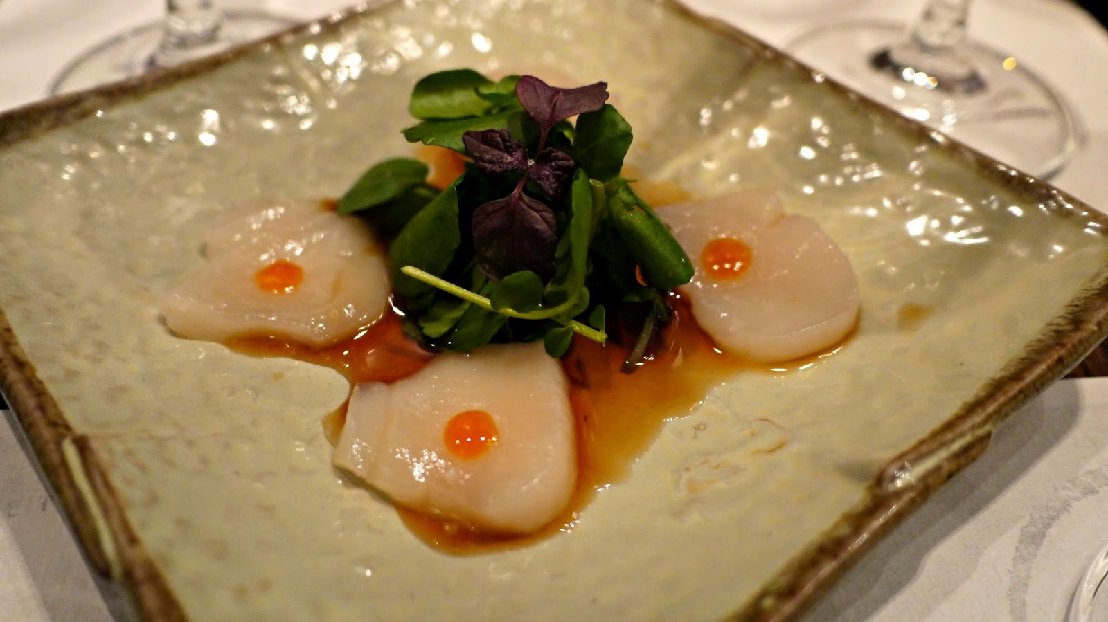 Chisou Alaskan dive caught scallop carpaccio, dressed with yuzukosho and ponzo sauce