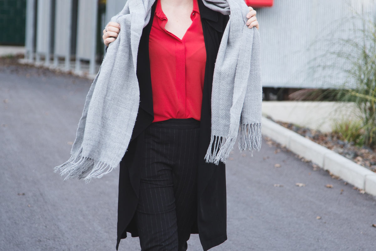 simple business style with a pop of red