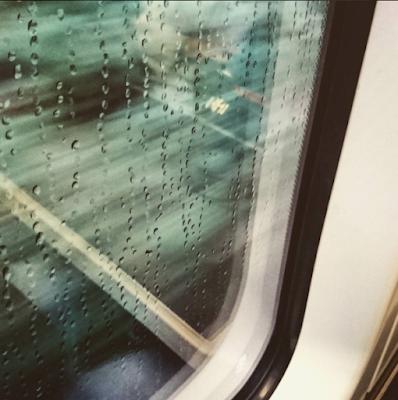 Rain on train window