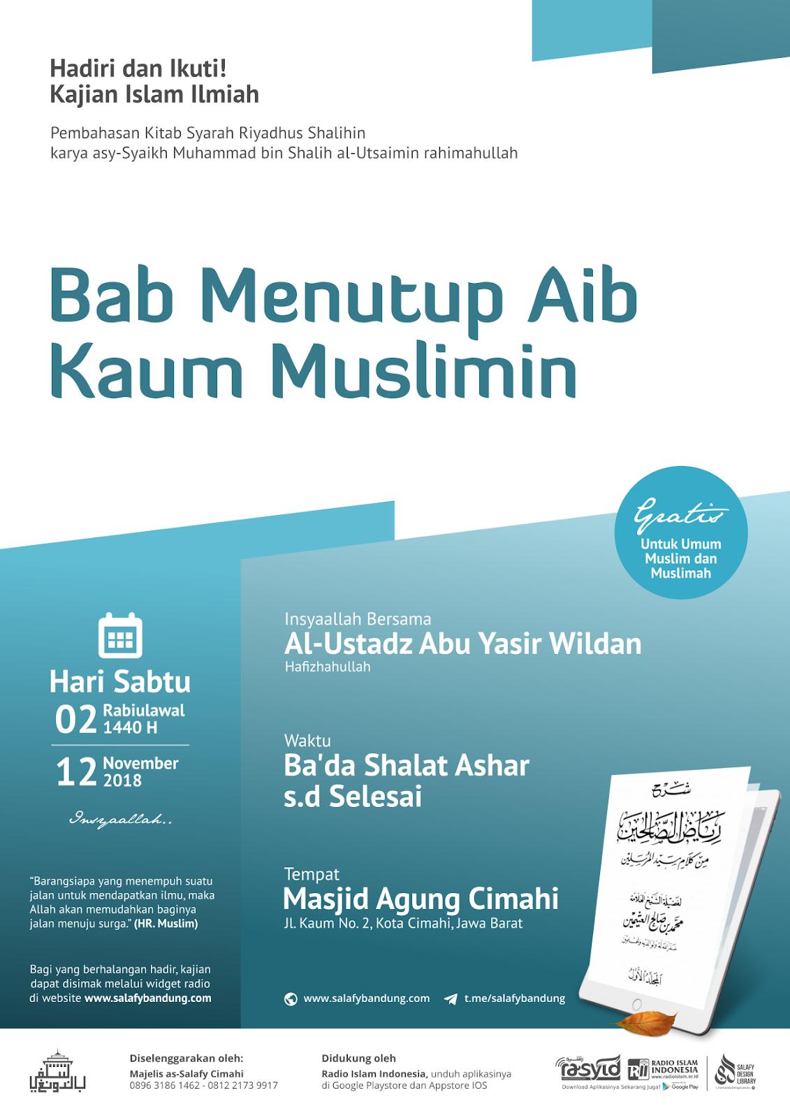 Audio Kajian Kitab Riyadhus Shalihin: Bab Menutup Aib Kaum Muslimin